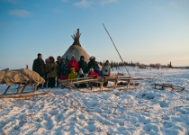 Tourist group in tundra