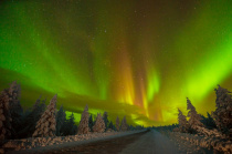 Aurora over the road in the Kola Peninsula